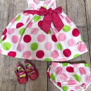 Polka Dot Dress w Diaper Cover & Shoes 💕